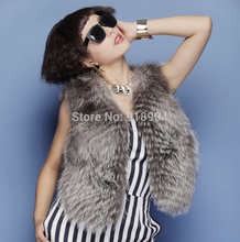 New Real genuine natural full pelt Sliver fox fur Vest women whole skin fur coat fox fur jacket outerwear customized big size