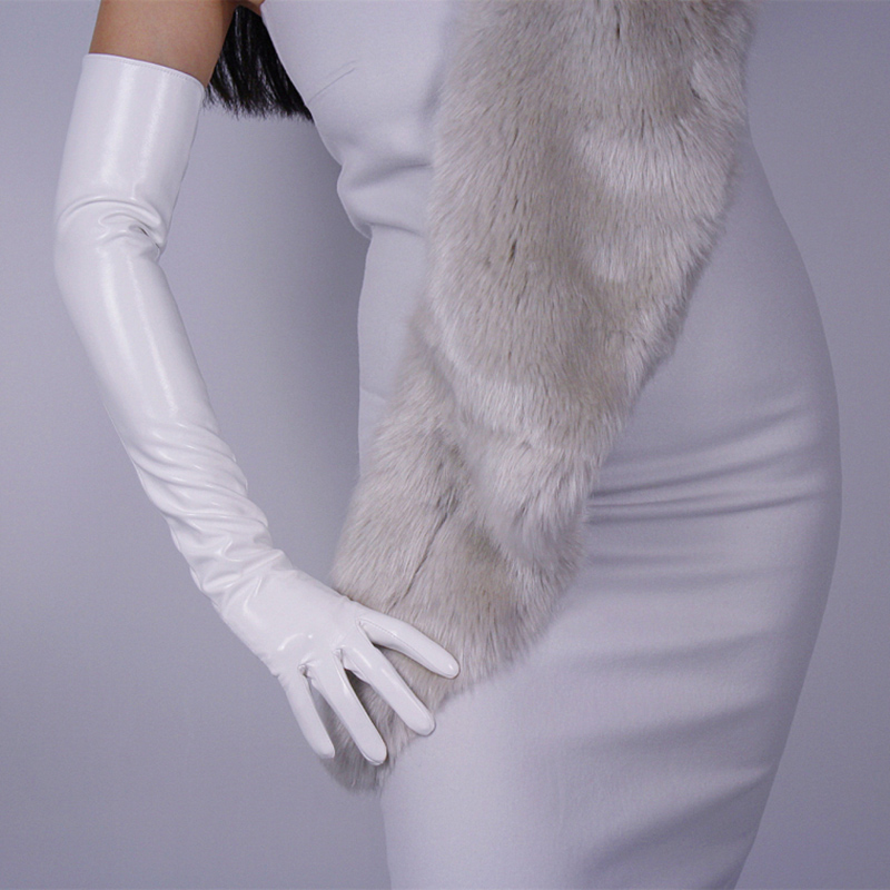 Fashion Women Patent Leather Long Gloves Extra Long Elbow PU Simulation Leather Bright Leather Mirror white 60cm B09