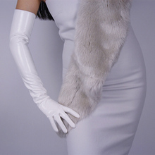Fashion Women Patent Leather Long Gloves Extra Elbow PU Simulation Bright Mirror white 60cm B09
