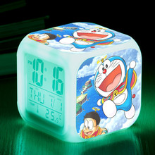 digital alarm clock doraemon cool kids clocks japanese anime thermometer night colorful led glowing toys
