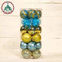Luxo pintado enfeites de bola de Natal 6 cm azul da cor do ouro da árvore de Natal loja de decoração cor de bola atacado