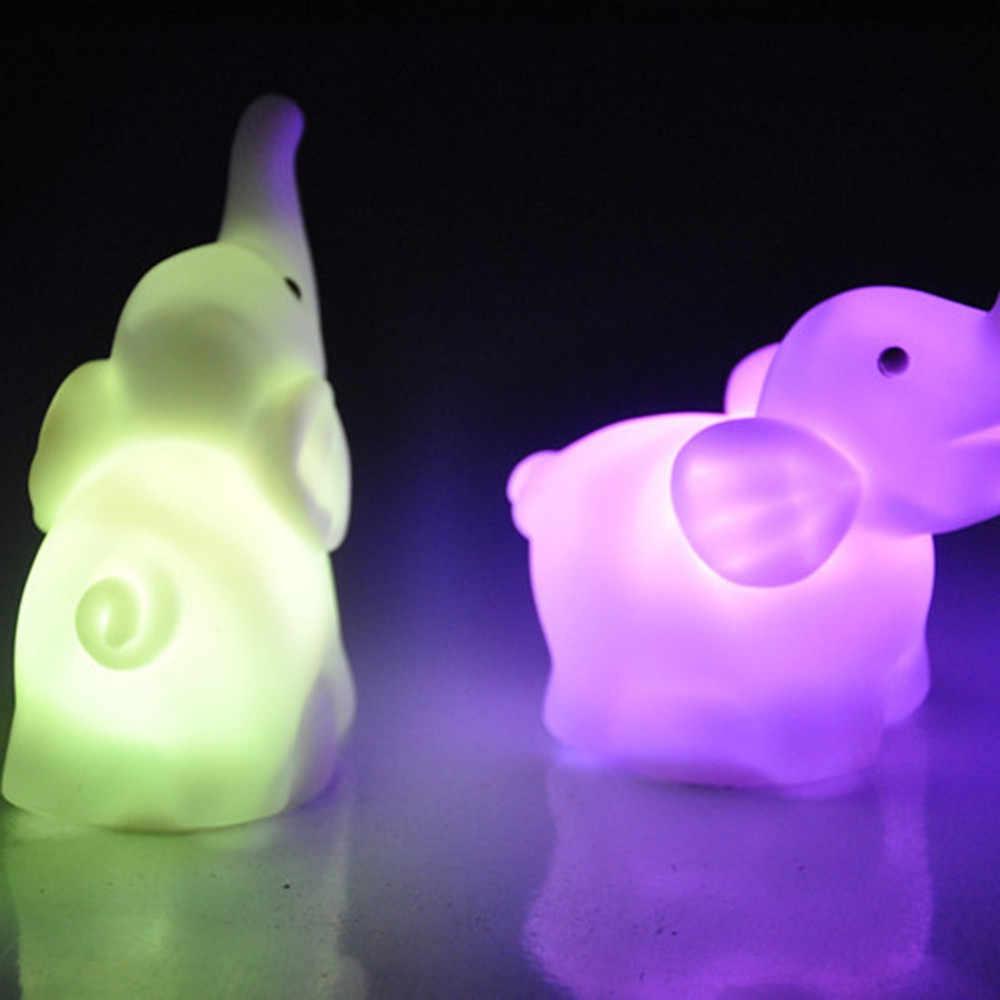 Mini Olifant Led Nachtlampje Kleur Veranderende Decoratie Verlichting Cartoon Dier Lamp Voor Kinderen Baby Kids Gift Met Batterij
