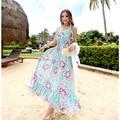 Мода Sweet Женщины Лето Шифон Длинное Платье Тонкий Оборками Большой Печати Лонг-Бич Платья Vestido Vestir для Женщин