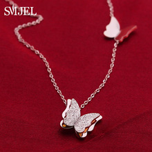 SMJEL Collier Double Butterfly Necklaces for Women Rose Gold Animal Charm Necklace Choker Stainless Steel Jewelry Gifts
