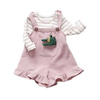 1 Unidades Bebé Lovely Girls Sistemas de la Ropa de Rayas Tapas de La Camiseta + Suspender Pantalones Cortos de Moda de Trajes de los Bebés Trajes de Juego de Los Cabritos paño