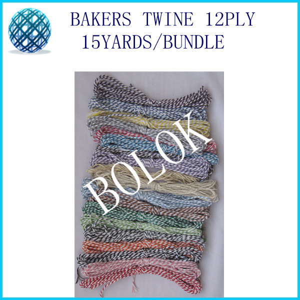 free shipping 42 color choose 10pcs/lot(150 yards) baker twine 12ply 15yards/bundle used in wrapping tag, gift cards,hanging tag