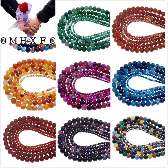 OMH Wholesale 4 6 8 10 MM Mixed Natural Stone Agates Turquoises Loose Stone Beads DIY Making Bracelet Necklace Jewelry ZZ04