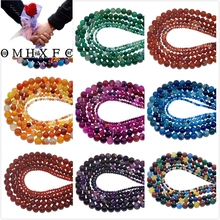 OMH Wholesale 4 6 8 10 MM Mixed Natural Stone Agates Turquoises Loose Beads DIY Making Bracelet Necklace Jewelry ZZ04