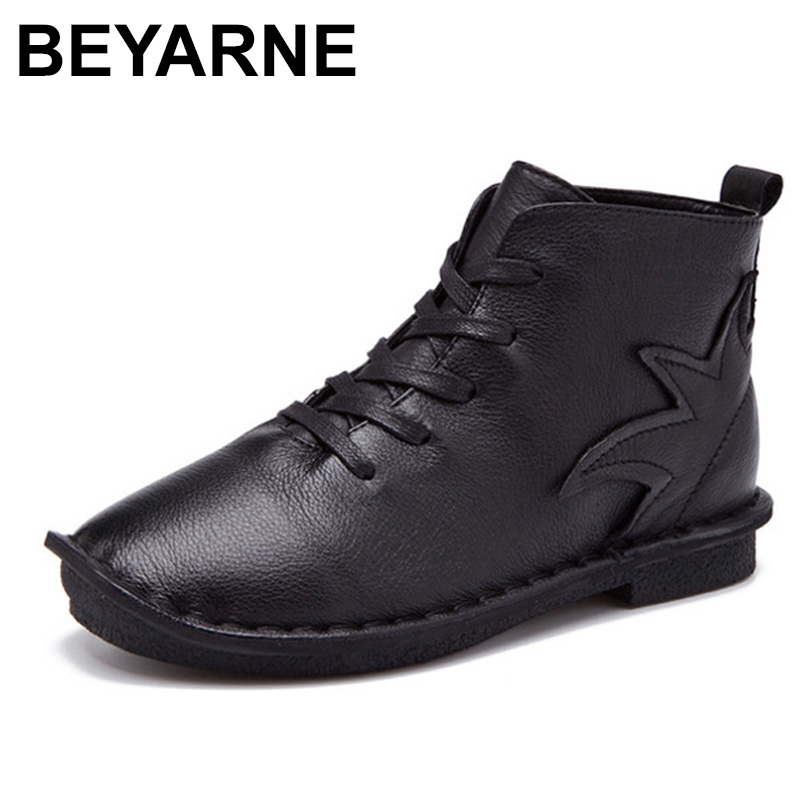 BEYARNE Fashion Round Toe Women Shoes 2018 Autumn Soft Genuine Leather Ankle Boots Lace Up Casual Female Flat Short Boots 2017 new genuine leather elastic band chunky women ankle boot casual round toe anti skid spring autumn flat short boots zy170919