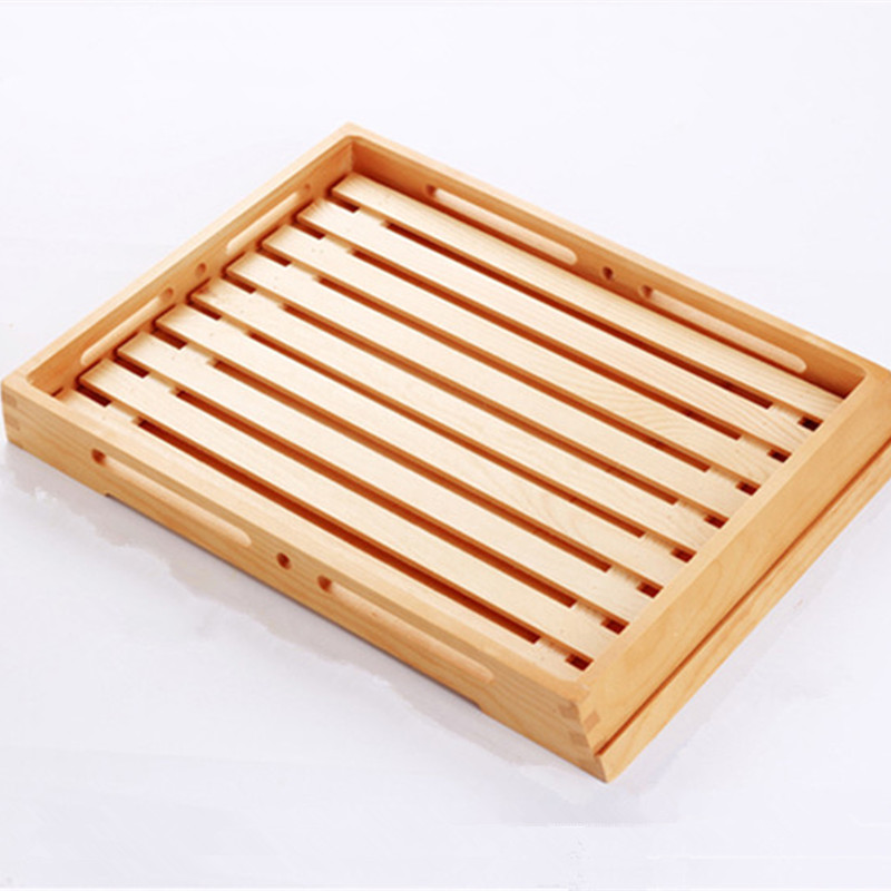Eco Friendly Wooden Serving Tray Natural Color Wood Cake