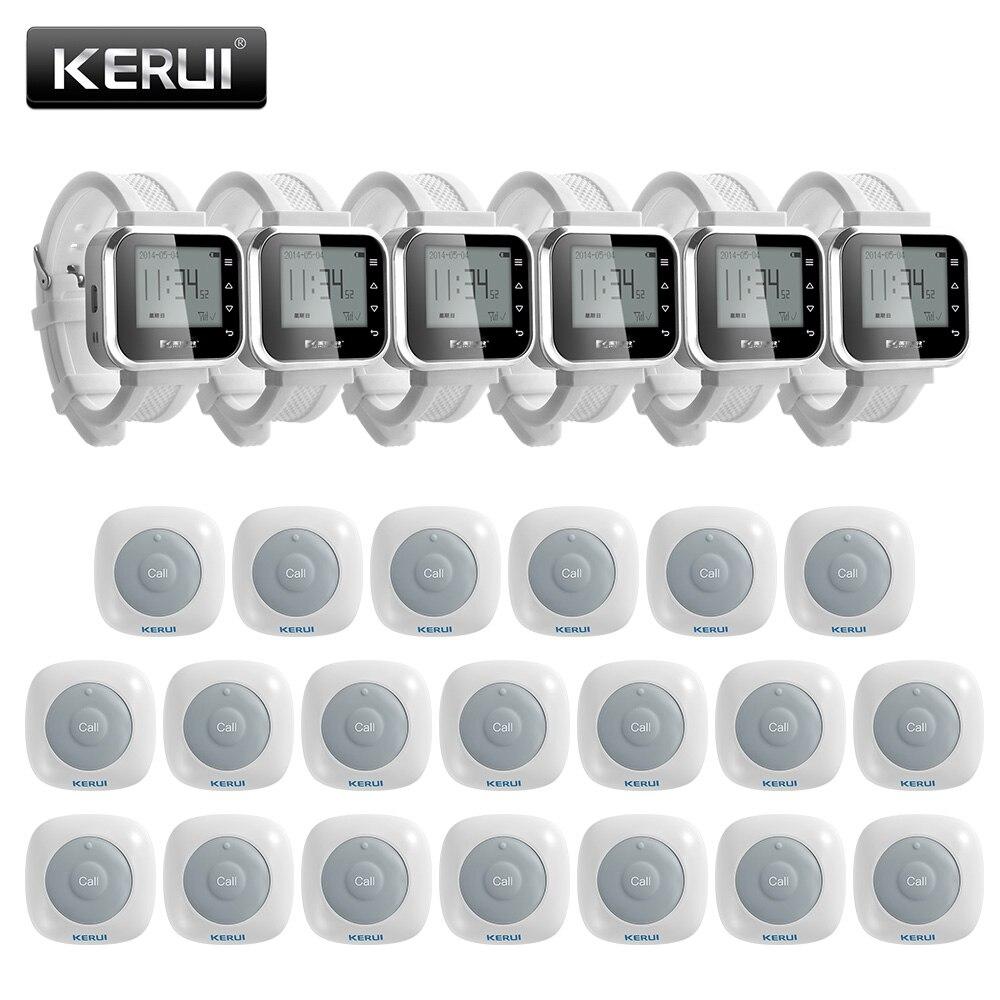 KERUI 20 ps étanche sans fil maison Restaurant hôpital système d'appel bouton Buzzers serveur Service appelant système montre intelligente
