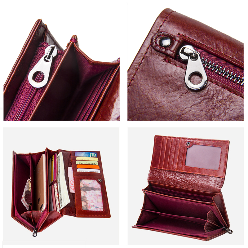 Contact's Genuine Leather Women Long Purse Female Clutches Money Wallets Brand Design Handbag For Cell Phone Card Holder Wallet #4