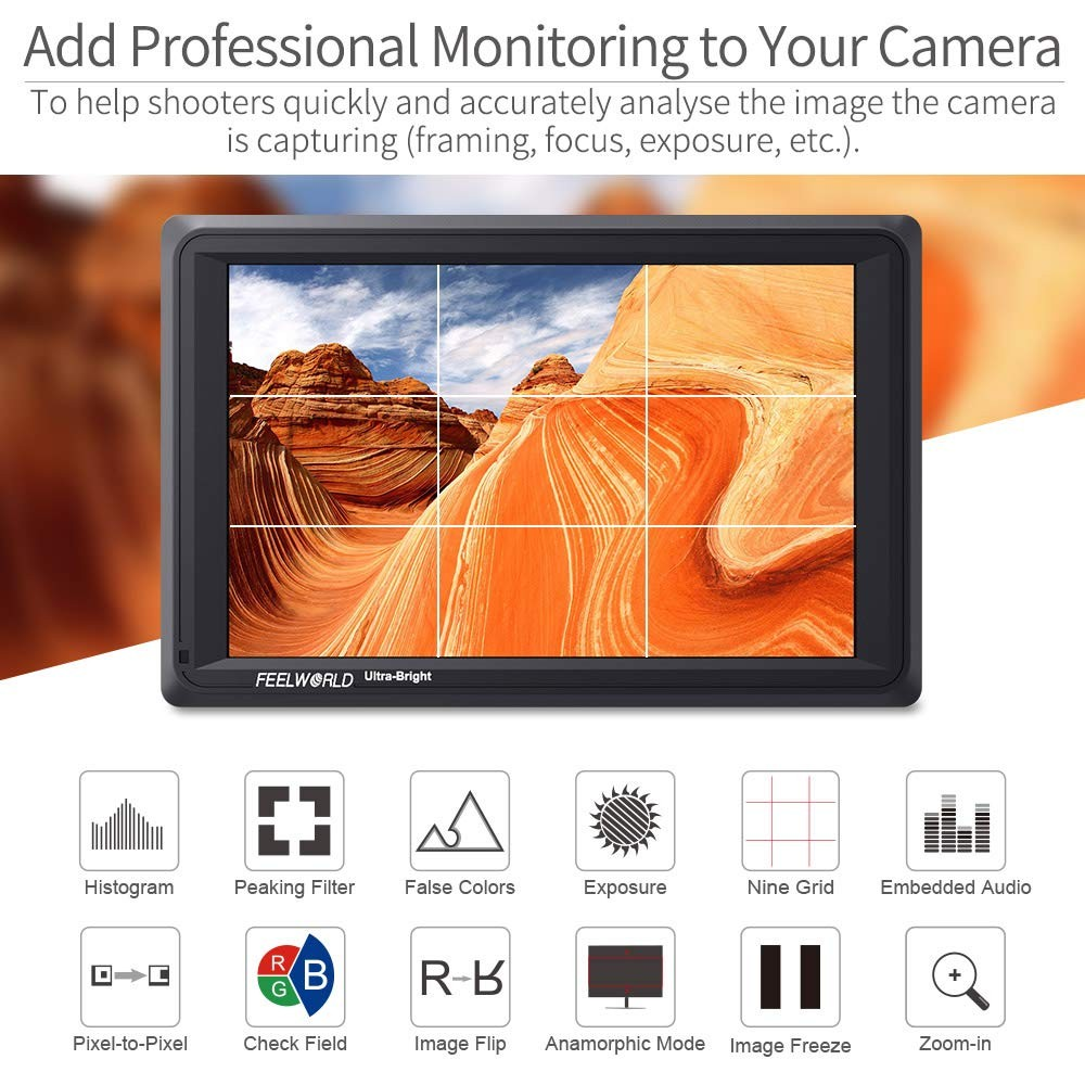 F750 Battery USB Battrey Charger } 7 IPS 2200nit Daylight Viewable HDMI Full HD 1920x1200 Feild Camera Monitor with False Color Function Feelworld/FW279 Professional Kit { Case