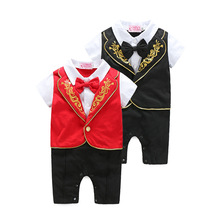 New Gentleman Short Sleeved Bowknot Baby Rompers Kids Wear 2 Colors fake two-pieces jumpsuit