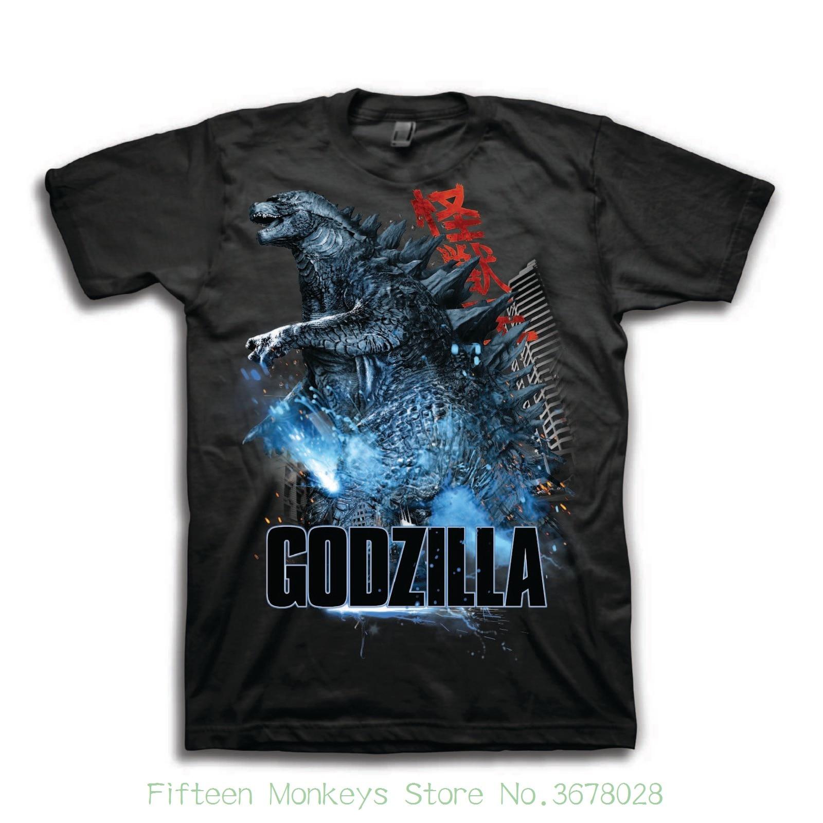 O Neck T-shirts Male Low Price Steampunk Godzilla Mens Destruction Shot Short Sleeve Graphic T-shirt