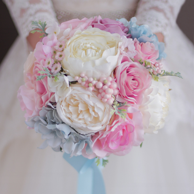 Rosa Blau Hochzeit Bouquet Kunstliche Blumen Hochzeit Dekorationen