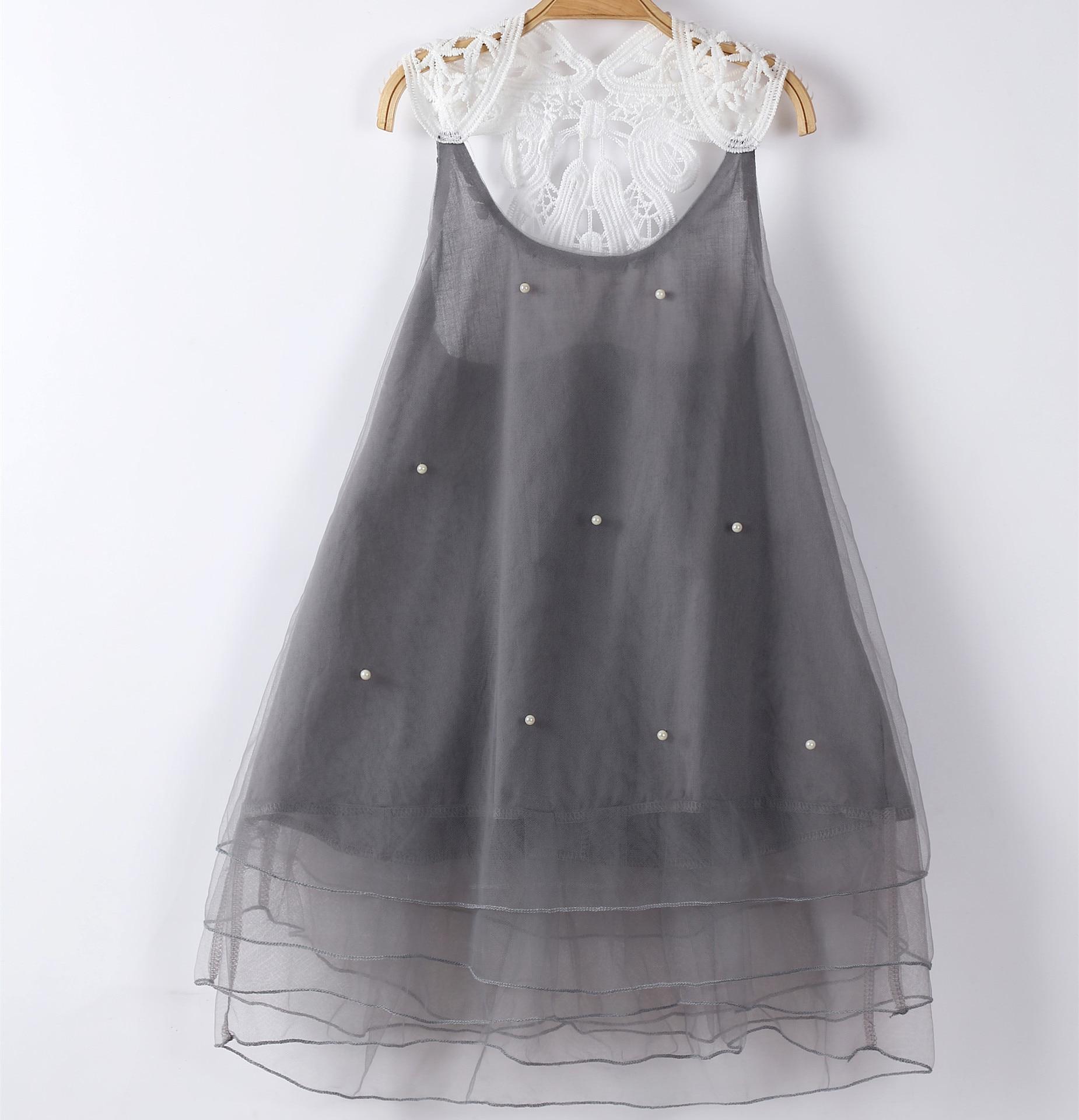 2 3 4 5 6 7 8 9 anos Meninas Vestido De Verão Sem Mangas Crianças Vestidos de Princesa Flor Do Laço de Pérolas Pouco roupa dos miúdos para Meninas