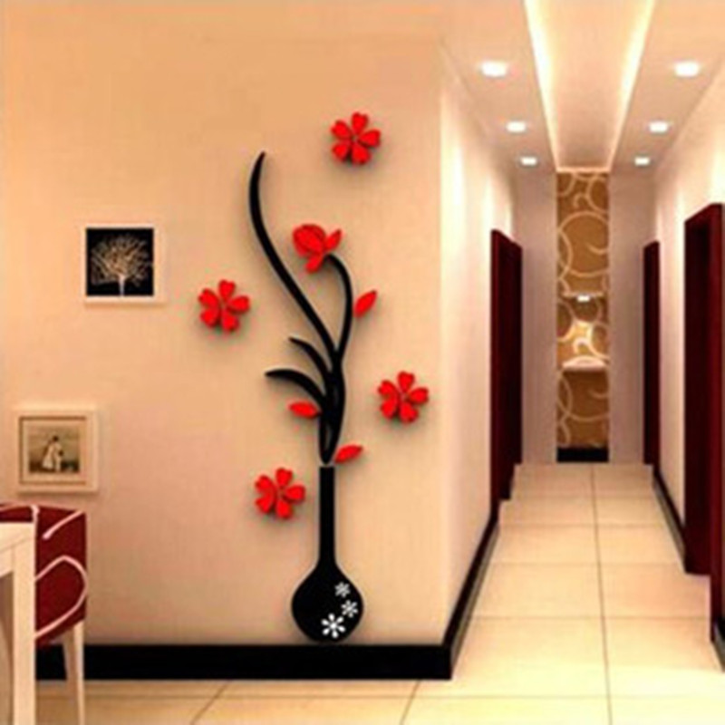 modern 3d plum vase wall stickers flowers home decor living