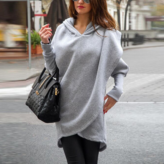 Preself New Hoodies Women Batwing Sleeve Hooded Pockets Casual Asymmetric Split Loose Sweatshirt Outwear