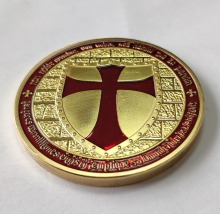 Red enamel cross Knights Templar Challenge Coin Non-currency Crusader Knight metal coin