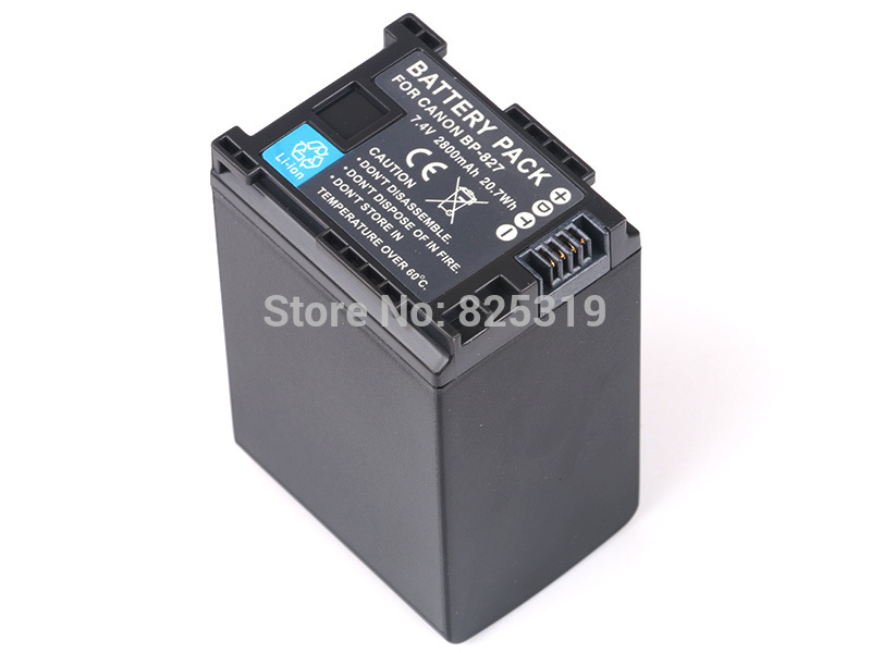 <font><b>7.4V</b></font> <font><b>2800mAh</b></font> BP-827 rechargeable <font><b>Battery</b></font> BP827 BP-827D Camera <font><b>batteries</b></font> for Canon LEGRIA iVIS HF G10 G20 G25 image