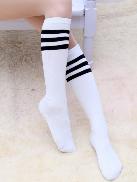 New Knee Casual Socks Long Socks Fashion Girl Boys Black