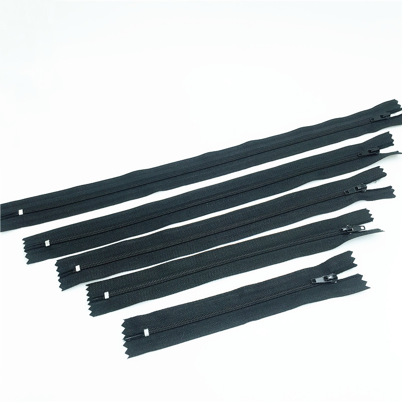 Black color 30pcs 5 size  mix Nylon Coil Zippers Tailor 6 8 10 12 14 inch 15 20 25 30 35cm each 6pcs