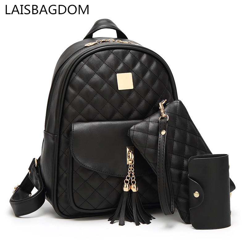 Women Leather Backpack Set PU Diamond Lattice Women