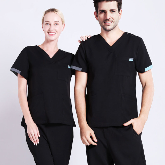 e1fad5abe01 Contrast Details Unisex Surgeon Uniform Medical Scrub Work Wear Nursing  Suit Modern Classic V-neck Short Sleeve Dentist Workwear