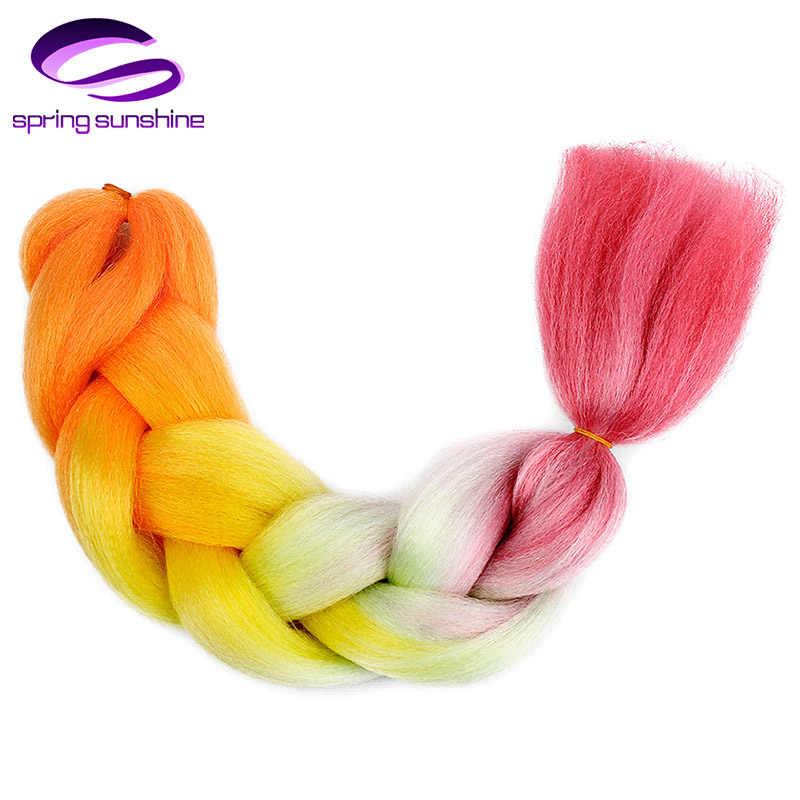 Весна Sunshine24 дюймов длинные Омбре плетение волос Джамбо плетеные косы волосы 100 г 24 дюйма синтетические волосы для наращивания Джамбо косы