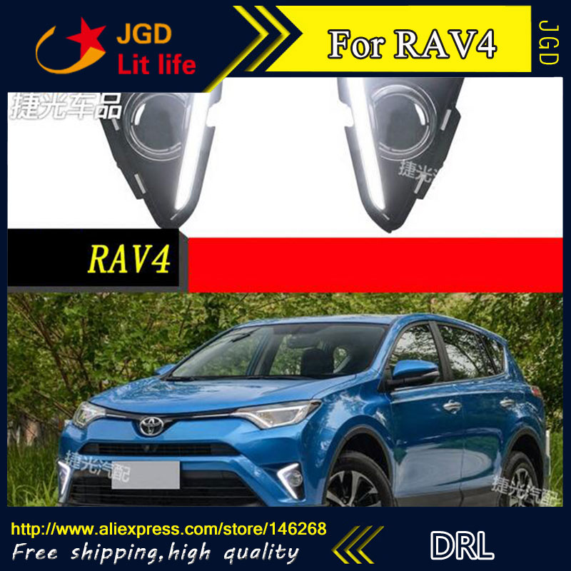 Бесплатная доставка ! 12В 6000K светодиодные DRL фары дневного света для Тойота RAV4 2016 2017 противотуманная фара