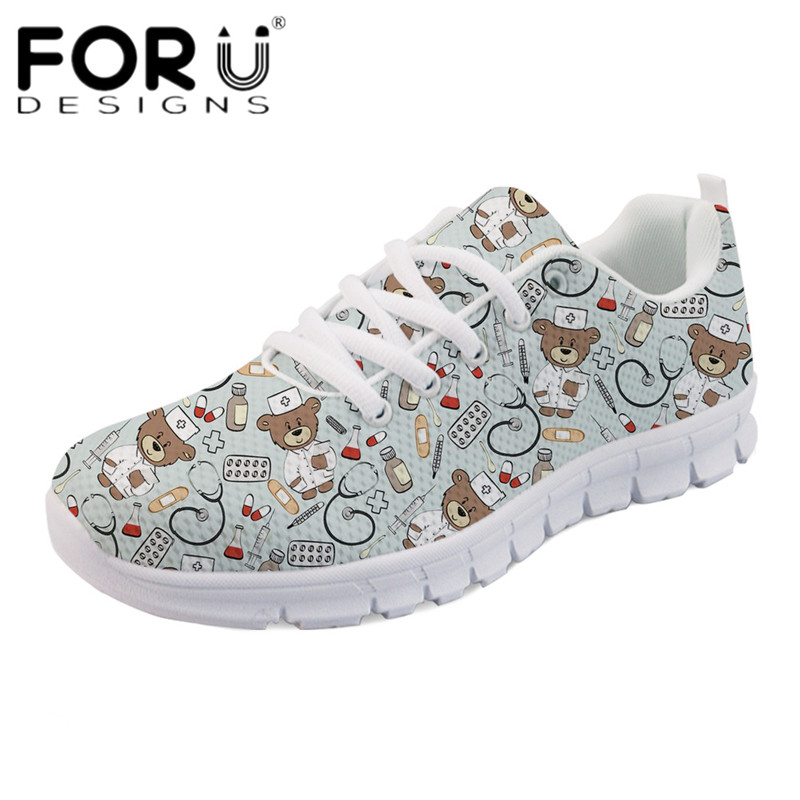 FORUDESIGNS Cartoon Nurse Bear Cows Print Casual Flats Shoes Women's Comfortable Breathable Sneakers Leisure Light Weight Shoes forudesigns teen girls summer pink flat shoes cute nurse bear print women light mesh sneakers casual comfort walking shoes mujer