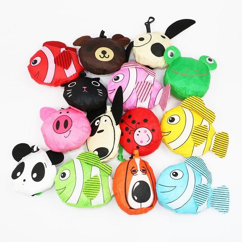1 Pcs Animale Sveglio Shopping Bag Borsa Da Viaggio Pieghevole Borsa Della Spesa Di Stoccaggio Tote Riutilizzabili