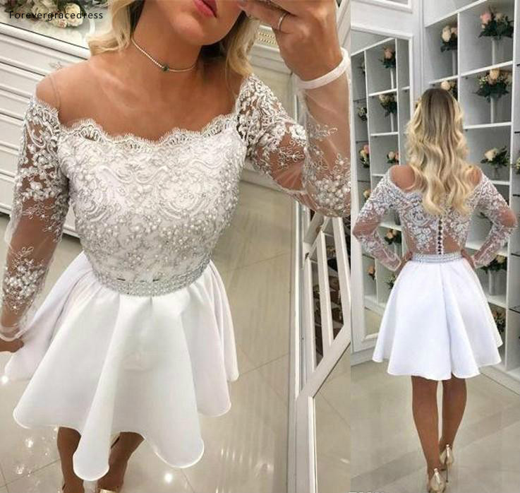 White Long Sleeves   Cocktail     Dresses   2019 A Line Short Mini Graduation Formal Club Wear Homecoming Prom Party Gowns Plus Size