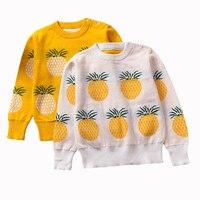 Girls Clothing 2017 Autumn Winter Pullover Children Sweaters Cartoon Pineapple Long Sleeve Outerwear O Neck Kids