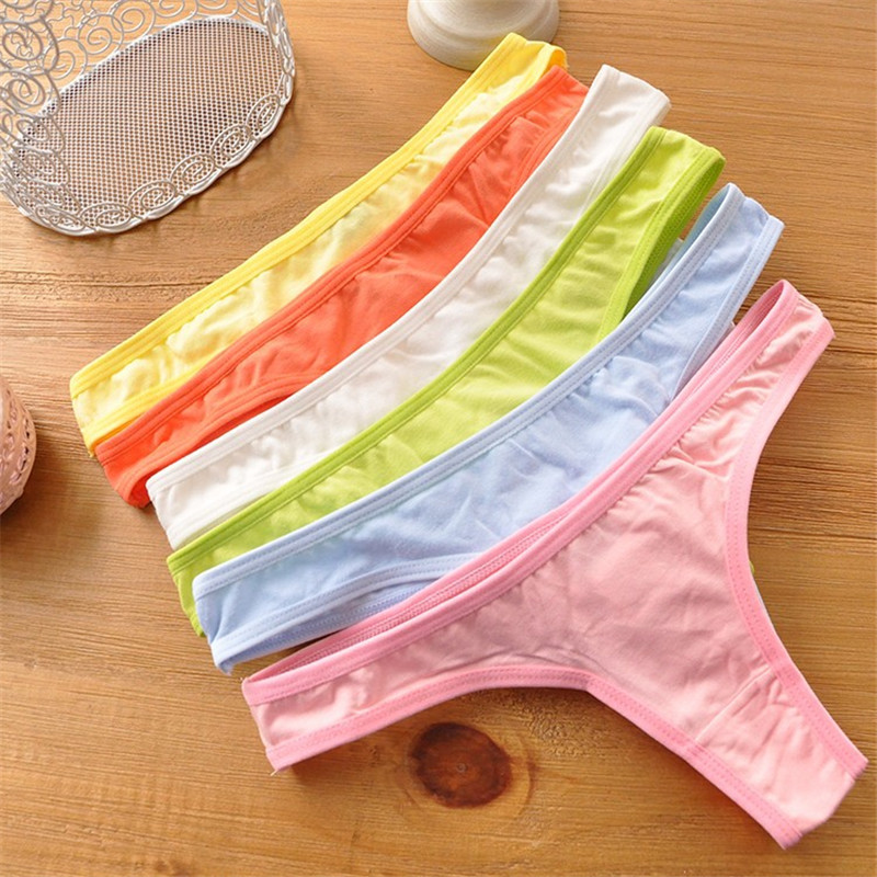 Solid Cotton Bandage G String Teenage Underwear   Panties   Calcinhas Breathable Young Girls Lingerie Underwear Girl Thongs