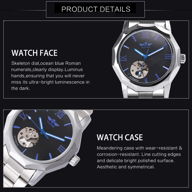 WINNER Classic Business Auto Mechanical Watch Men Stainless Steel Strap Marine Hands Top Brand Luxury Skeleton Wrist Watches