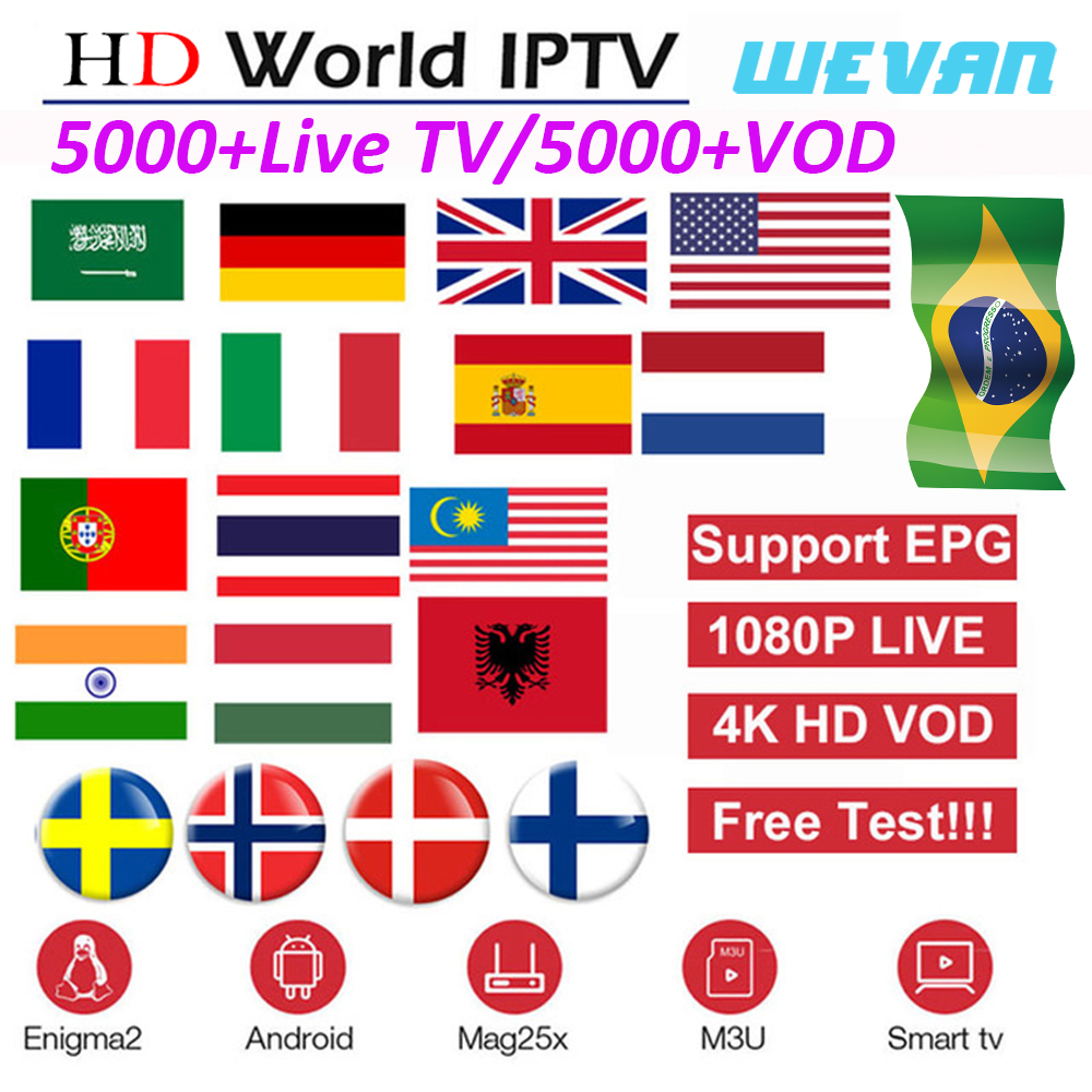 IPTV Subscription Android TV Box European Sweden Arabic French Spain France Portugal Italy Germany UK IPTV For Smart TV Box