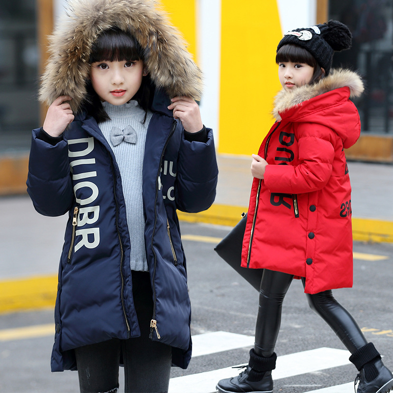 Children long outerwear winter thick warm hooded jacket coat 2017 fashion size 6 7 8 9 10 11 12 13 14 15 16 years teenager girl children cowboy jacket coat hooded 2017 winter new tide thick cashmere long outerwear size 4 5 6 7 8 9 10 11 12 13 years girl