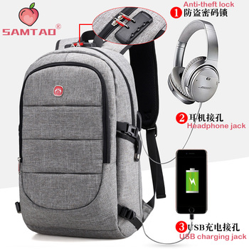 Anti-theft Rechargeable with Headphone Jack Multi Pockets Men Laptop Backpack Large Capacity Business Men's Backpack Male Bag