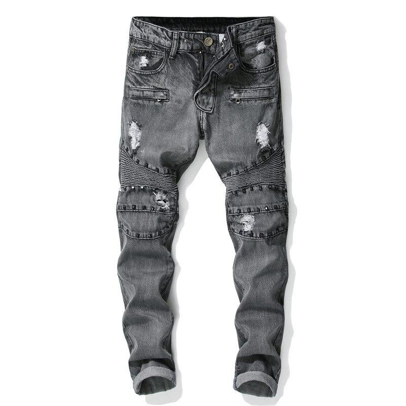 0df3f6cbff867e 2019 neue Mode trend Nähen Nieten jeans Schwarz Gewaschen Loch Gerade  Stretch Männer der jeans Mehr