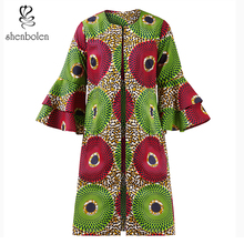 shenbolen 2018 African women's fashion vintage floral print high quality stitched trumpet sleeve casual coat