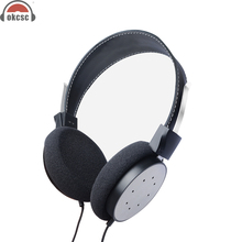 OKCSC M6 Over ear Semi Open Back Wood Headphone Active Noise Canceling Supper Bass Wired Collapsible Headset 3.5mm Gold Plated