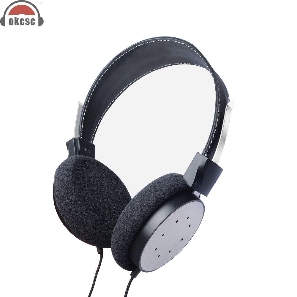 OKCSC M6 Sur-oreille Ouverte Voix Bois Casque Sport Antibruit Actif Souper Basse Filaire Pliable Casque 3.5mm plaqué or