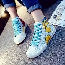 2016 Anime figure Minion men women Graffiti canvas shoes boys girls hand-painted cartoon shoes Despicable Me Minions graphite