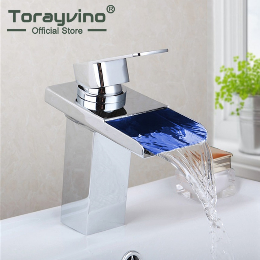 Torayvino LED Bathroom Single Handle Basin Sink Faucets Waterfall Spout Kitchen Basin Faucet Sink Mixer Tap Chrome Finish free shipping polished chrome finish new wall mounted waterfall bathroom bathtub handheld shower tap mixer faucet yt 5333