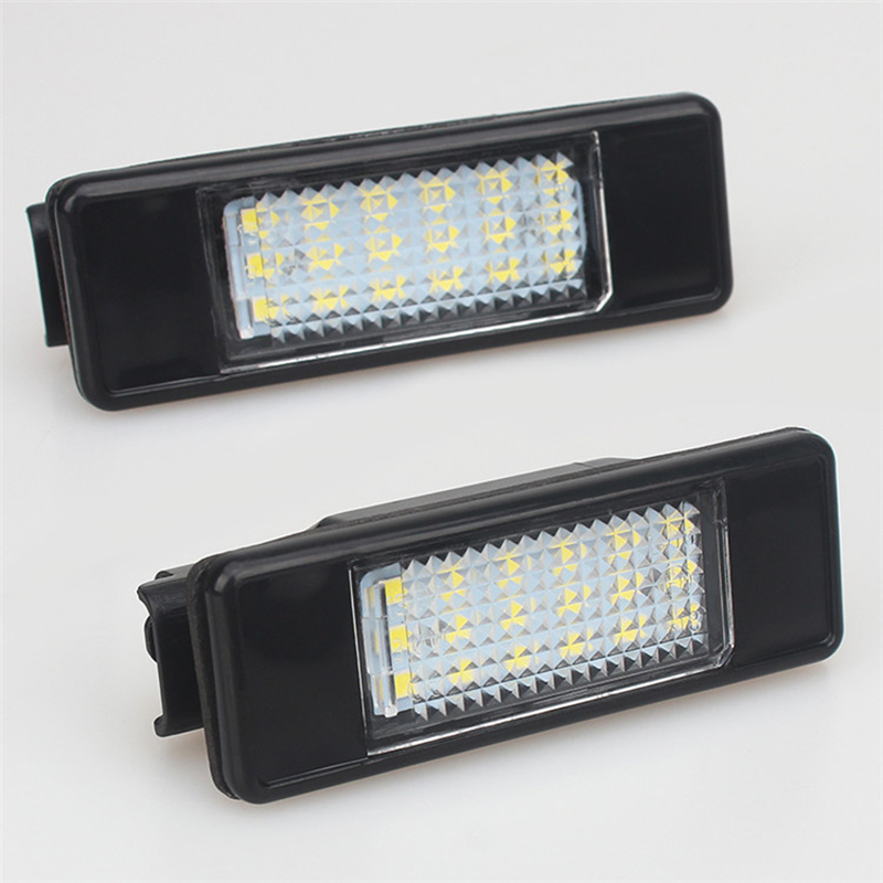 Car LED License Plate Lights 12V For Peugeot 307 308 407 207 3008 508 For Citroen C4 C5 C3 accessories White SMD LED Lamp cawanerl car canbus led package kit 2835 smd white interior dome map cargo license plate light for audi tt tts 8j 2007 2012