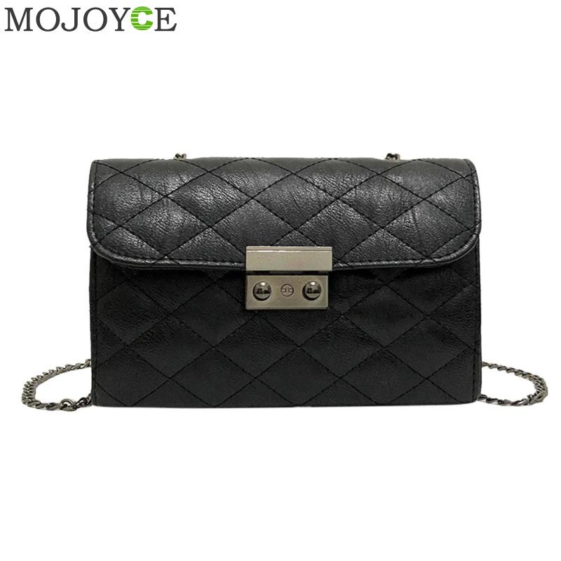 PU Leather Women Messenger Bag Plaid Ladies Crossbody Bag Casual Chain Trendy Candy Color Small Flap Shopping Handbag Clutch