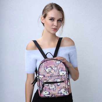 Mini 3D Printed Pink Unicorn Shoulder Bag for Teenagers