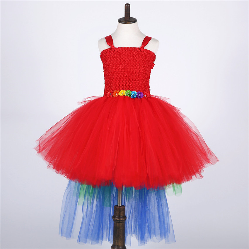 Princess Tutu Colorful Tutu Dress Tulle Train Tail Flowers Girl Dresses Kids Girls Party Wedding Birthday Pageant Dresses disney princess train case